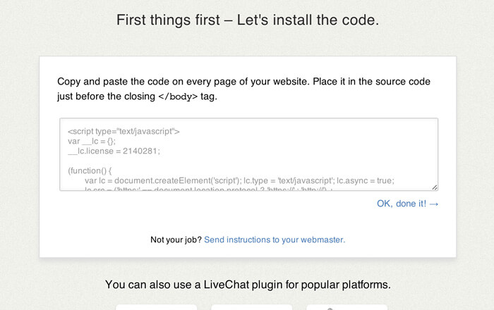 setting livechat your website