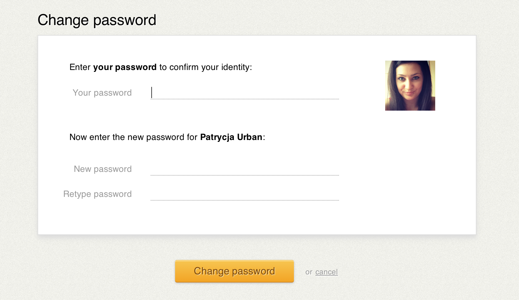 New password change screen in LiveChat