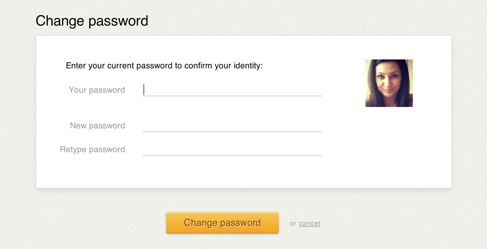 Old password change screen in LiveChat