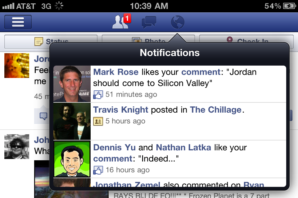 Facebook notifications on a mobile device