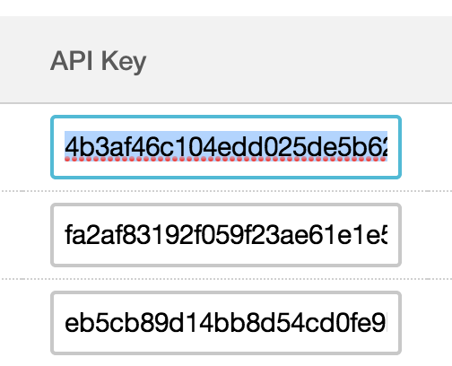 API key selection in Mailchimp