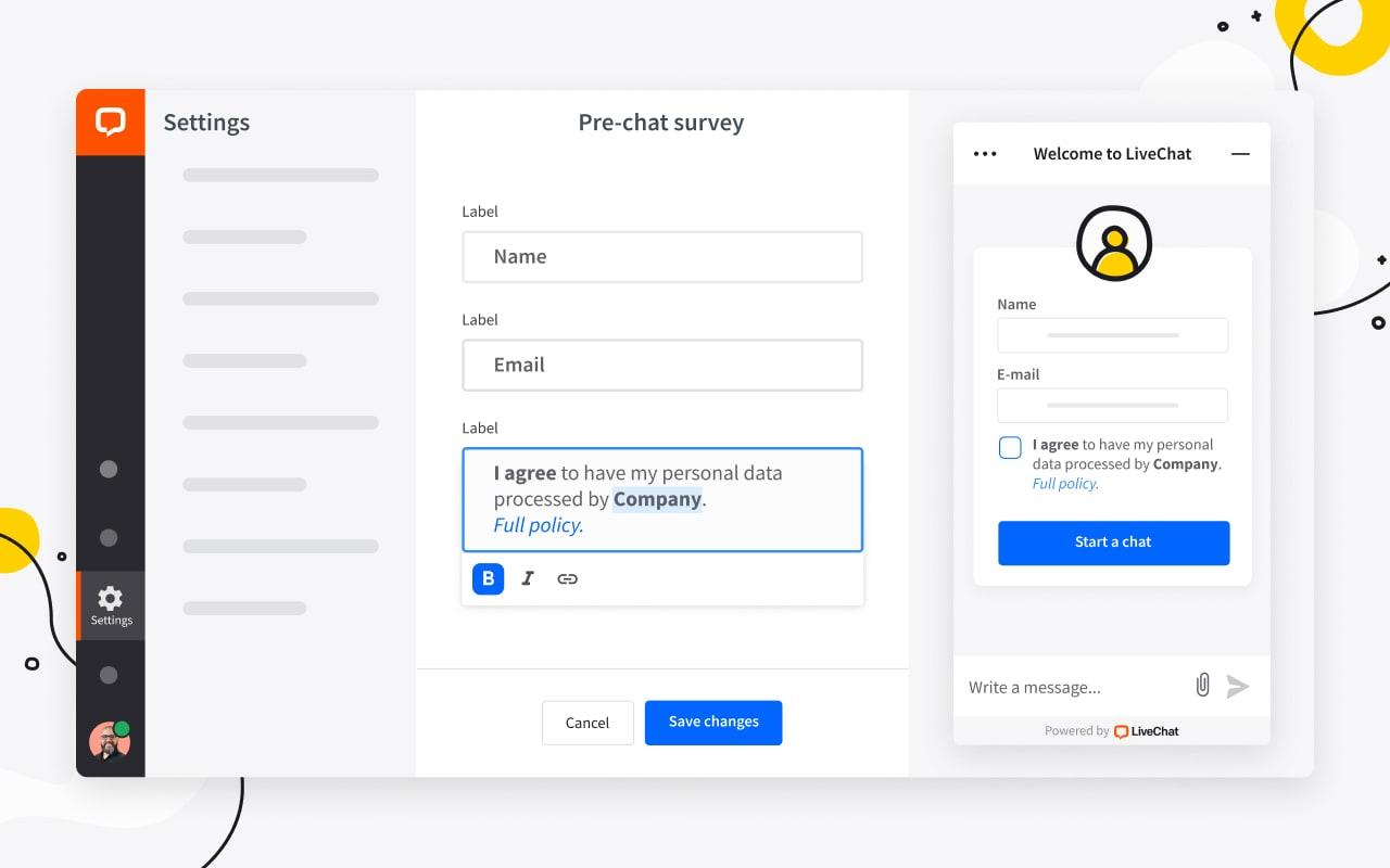Pre-chat survey editor window