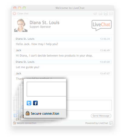 Social media icons in LiveChat