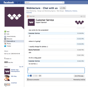 LiveChat on Webitecture's fan page