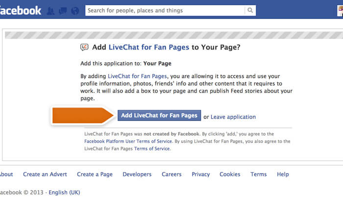 Adding live chat to Facebook button
