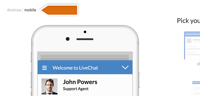 Mobile window preview in LiveChat