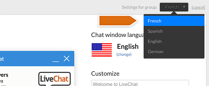 Selecting a group in language selection in LiveChat