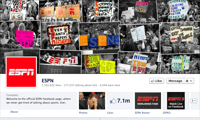 ESPN showcases fan-made signs on their Facebook