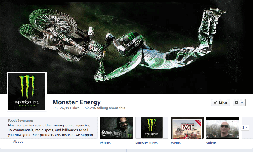 Monster Energy shows their ties to extreme sports on their Facebook