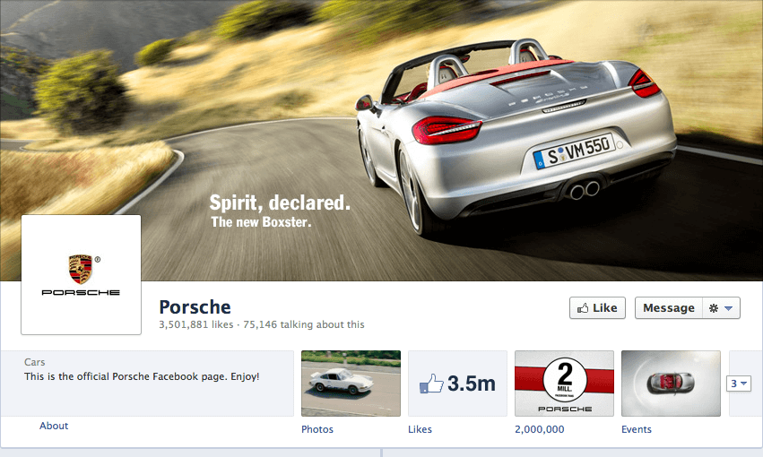 Porsche advertises their new Boxster via the Facebook cover photo