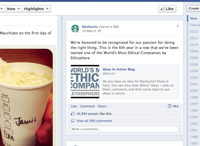 starbucks fan page