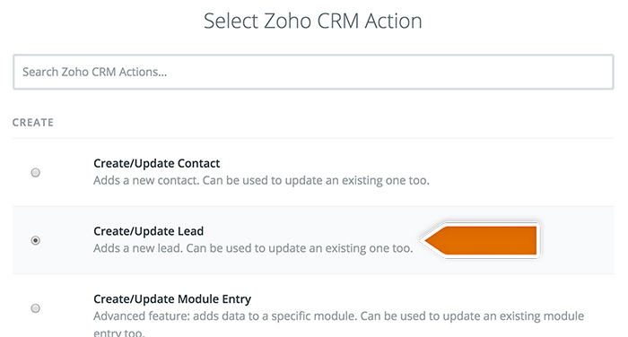 Selecting Zoho action
