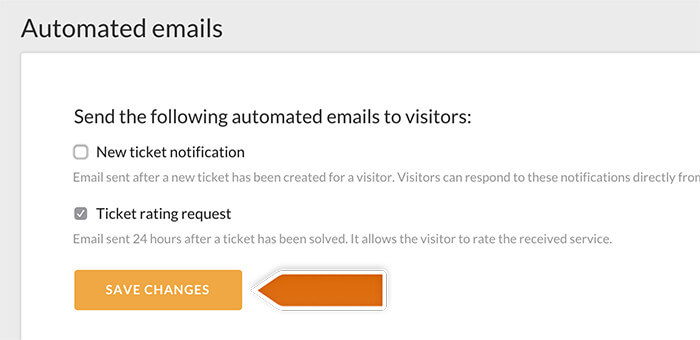 Automated emails settings in LiveChat