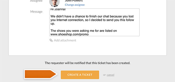 Finalizing ticket creation in the ticket section