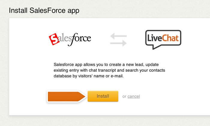 Proceeding with Salesforce integration installation