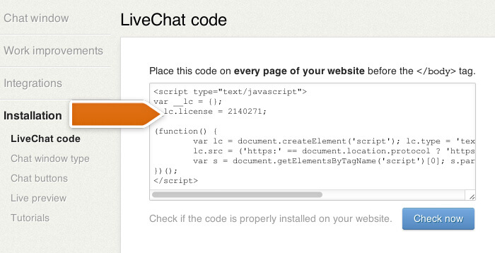 Copying LiveChat code