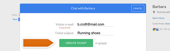 Creating a ticket from chat