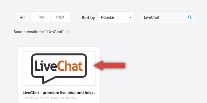 adding LiveChat from Bigcommerce marketplace