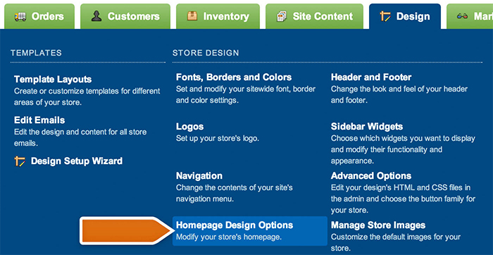 Choosing home page design