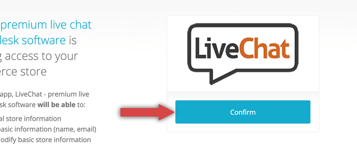 granting LiveChat access to Bigcommerce general information