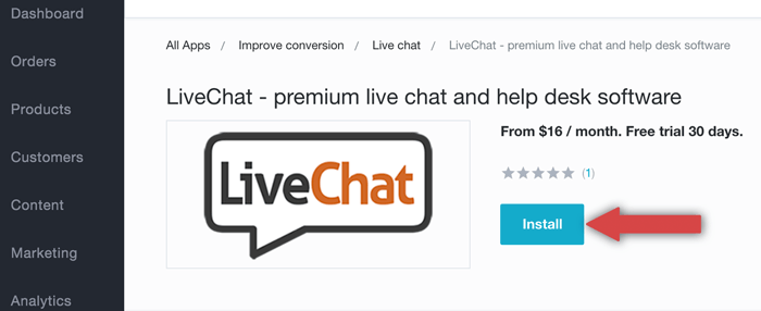 Installing LiveChat from Bigcommerce market