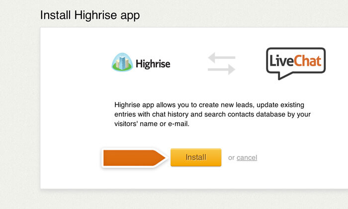 Proceeding with the Highrise integration installation