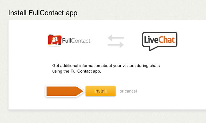 Proceeding with the installation of Fullcontact app
