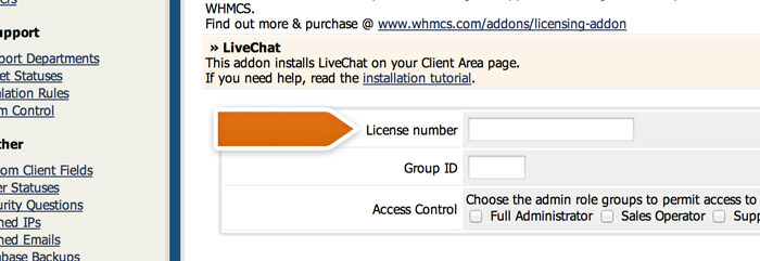 Providing your LiveChat license number