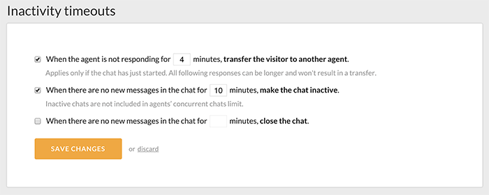 Inactivity section in LiveChat