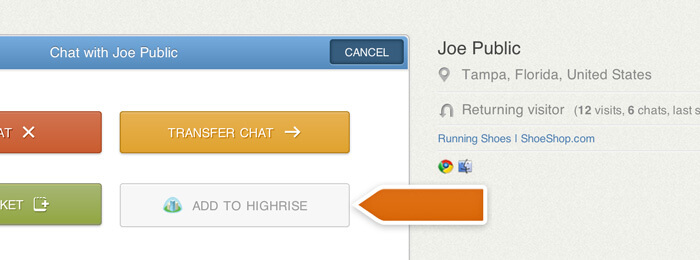 Adding a contact to Highrise via LiveChat