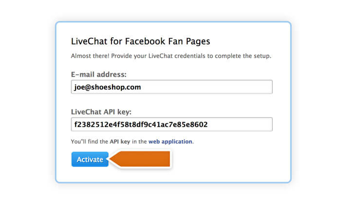 Activating LiveChat on a Facebook Page