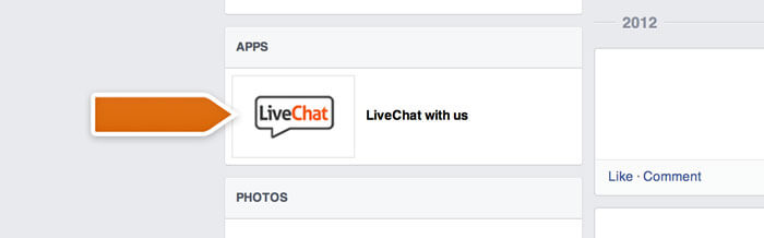 LiveChat button of a Facebook Page