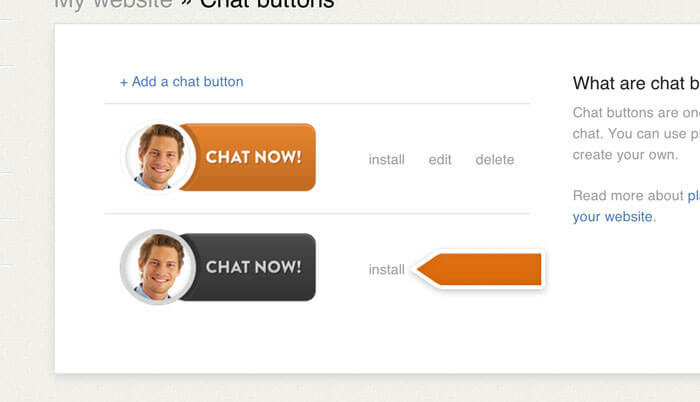 Installing a chat button