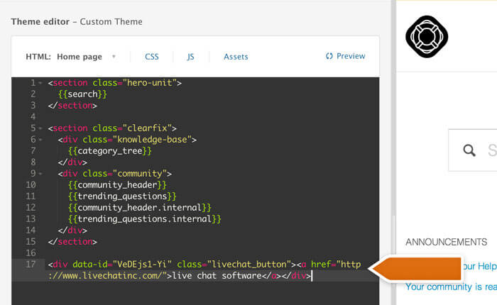 Pasting the chat button code in Zendesk Helpcenter