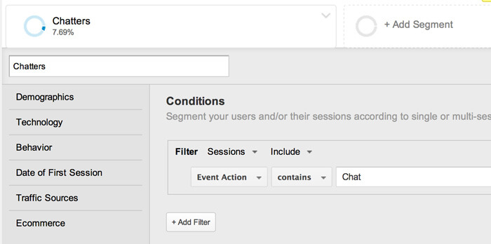 Setting up a segment in Google Analytics