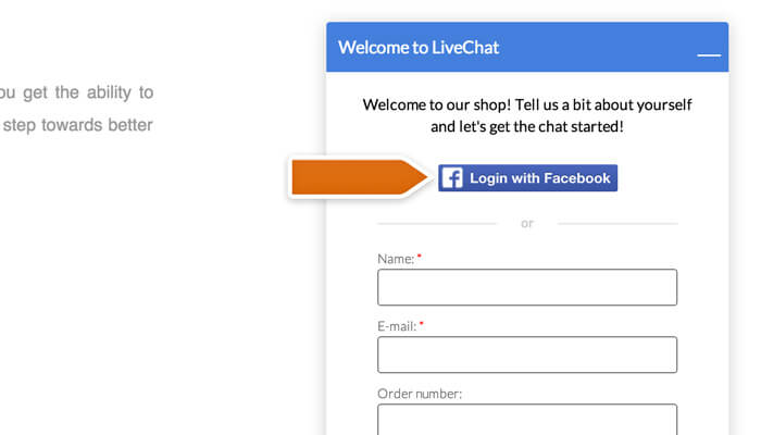 Logging to LiveChat via Facebook