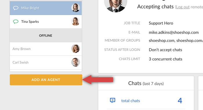 adding new LiveChat agent