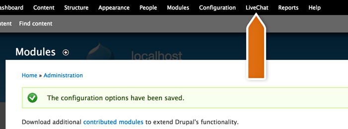 Accessing LiveChat module in Drupal
