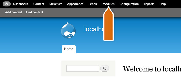 Accessing Modules section in Drupal