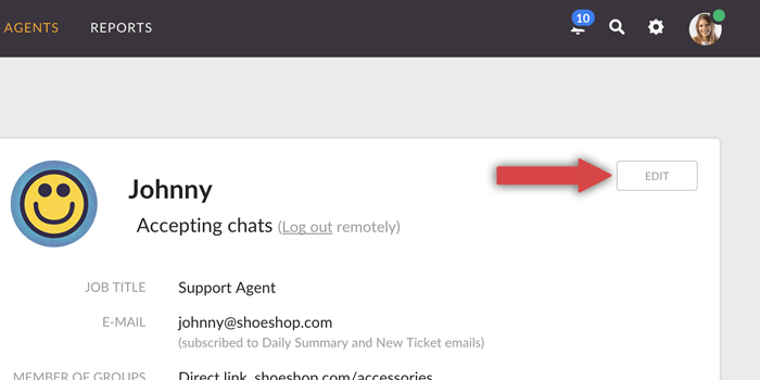 link to edit agent account in LiveChat