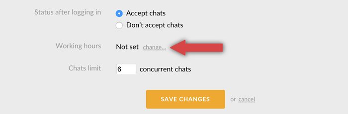 setting up working hours in LiveChat