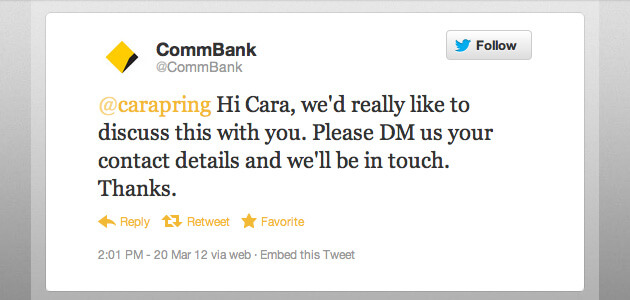 CommBank response on twitter