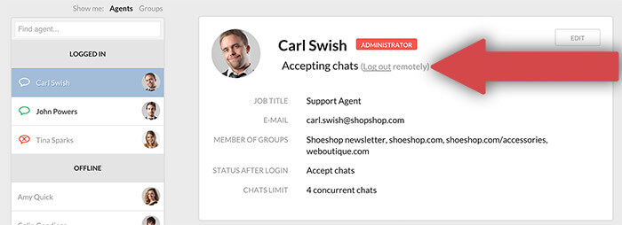 Signing out an agent remotely in LiveChat