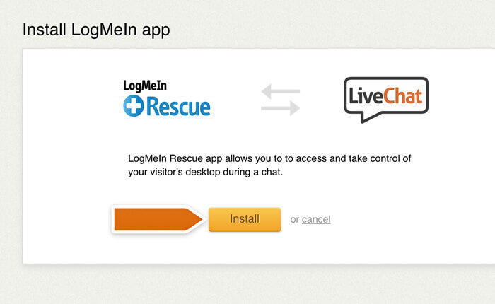 Installing LogMeIn Rescue integration in LiveChat