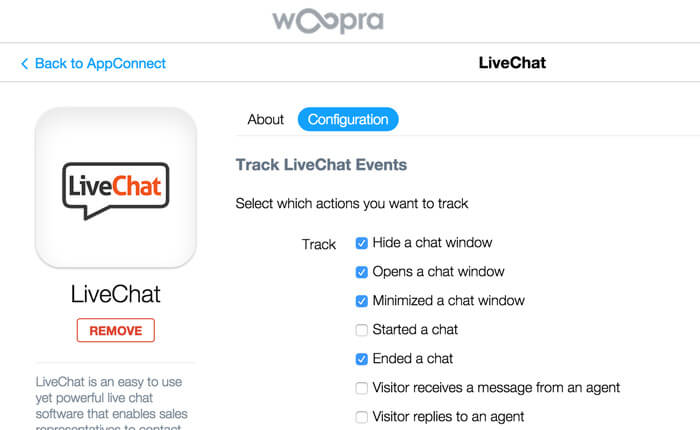 Woopra and LiveChat integration