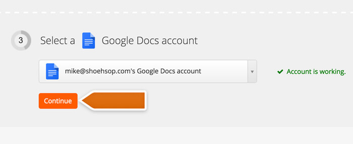 Connecting your Google Docs Account