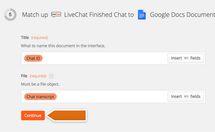 Selecting Chat ID and Chat Transcript options