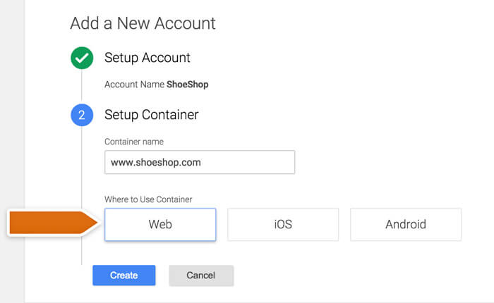 Creating a container in Google Tag Manager