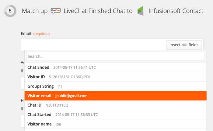 Selecting data to pass to Infusionsoft from LiveChat