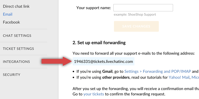 LiveChat forwarding email